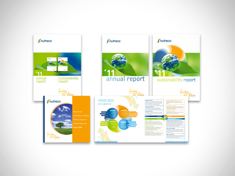 Annual report [200 pages, in different languages], sustainability report, corporate brochure and folder to keep the three together.
