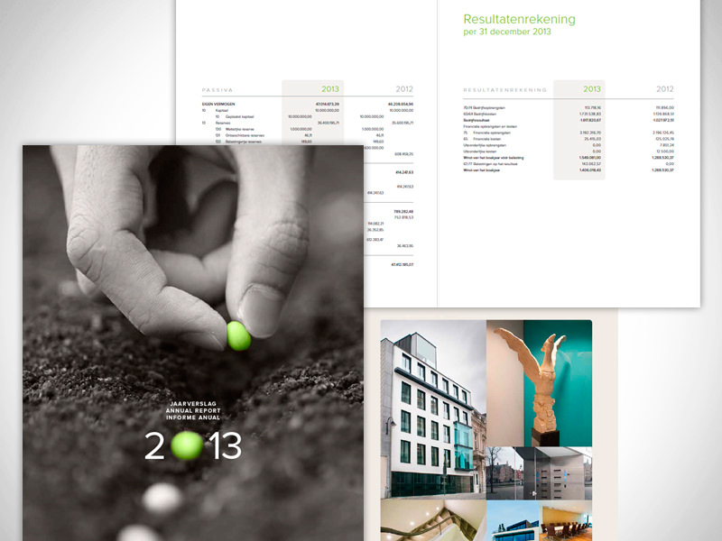 Annual report for a financial company – 44 pages, in 3 languages [for a communication agency]