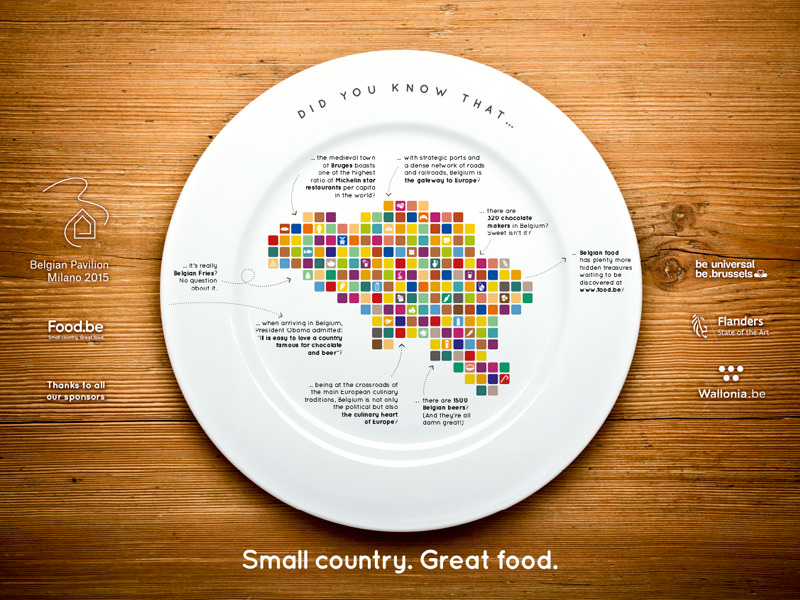 Creation placemat for the restaurant in the Belgian Pavilion – Expo Milano 2015 – for Fevia|Food.be.