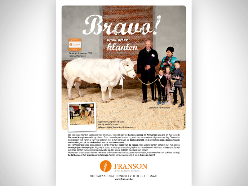 Creation of the advertisement, in which Franson thanks and felicitates his clients for their success for many years in several competitions and in their business in general.